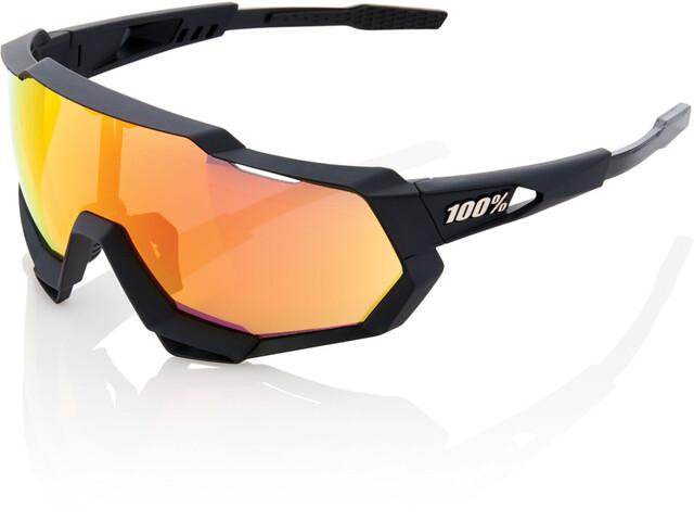 100% Speedtrap Glasses soft tact black | hd red multilayer mirror lense/hiper lense